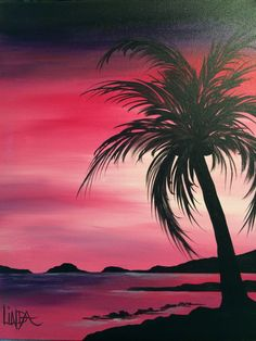 41 Super Ideas for palm tree watercolor beautiful Canvas Painting Projects, Easy Canvas Painting, Canvas Art, Spray Paint Art, Tree Wall Decor, Beginner Painting, Pictures To Paint, Palm Trees, Palm Tree Art
