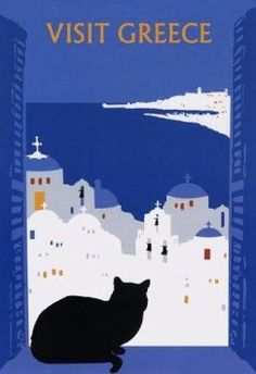 Visit Greece Black Cat Window