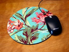 mousepad /  Mouse Pad / Mat - round or rectangle - Love Bliss Bouquet - Pink / teal / aqua