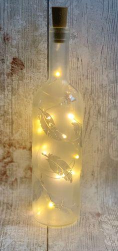 Wine Bottle Vases, Light Up Bottles, Bottle Lights, Flamingo Photo, Battery Operated Led Lights, Feather Duster, Feather Design, Mason Jar Lamp, Christmas Lights