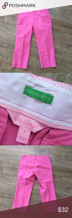 Lilly Pulitzer Palm Beach Fit Capris (Pink) Gently used condition Lilly Pulitzer palm beach fit capris in pink. 100% cotton. Size 6. Rise of about 8 inches. Inseam of about 23.5 inches. Please ask any questions! Offers welcome! Lilly Pulitzer Pants Capris