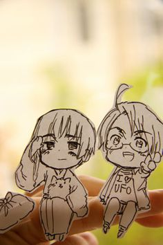 Japan, Pochi and America, Hetalia Paper Children - These were made by the…