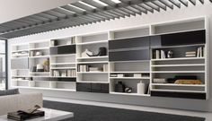 20 Contemporary Living Area Wall Units for Book Storage from Misuraemme : 20 Modern Living Room Wall Units With White Grey Wooden Books Stor. Modern Shelf, Living Room Wall Units, Modern Wall Units, Bookcase Design, Wall Storage Unit, Shelving, Interior Design, Wall Unit, Modern Living Room Wall