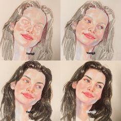 Oil Pastel Art, Oil Pastel Drawings, Art Drawings Sketches, Cool Drawings, Watercolor Portraits, Watercolor Paintings, Guache, Color Pencil Art, Human Art