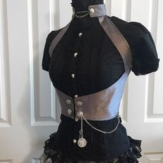 Steampunk Corset Halter- silk underbust corset steel boned, custom made
