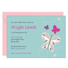 Butterflies Baby Shower Invitation--if only there were more purple