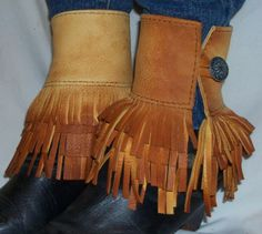 Leather Boot Fringe Cuff  Ankle Wrap Fringed Leather Boot Add On Handmade by Debbie Leather