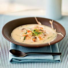 Spicy Coconut Shrimp Soup (Cooking Light) is tonight's dinner. Very good but could use more spice.