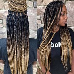 Ombre Box Braids Gallery 2019 latest amazing individual braids to try individual Ombre Box Braids. Here is Ombre Box Braids Gallery for you. Afro Blonde, Blonde Box Braids, Braids With Curls, Black Girl Braids, Braids For Black Hair, Blonde Ombre, Ombre Box Braids, Braids For Black Women Box, Afro Braids