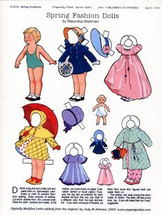 Spring Fashion Dolls colored by Judy Johnson