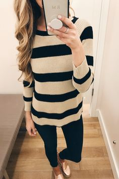 Spring SALE!!! this striped sweater (sized up 1) is perfect to wear now with skinny jeans and flats or to wear with shorts as the temps rise. #springoutfit on pinterestingplans.com