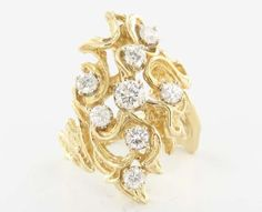 Vintage 14 Karat Yellow Gold Diamond Nugget Cocktail Ring Fine Estate Jewelry Used 7 $1695