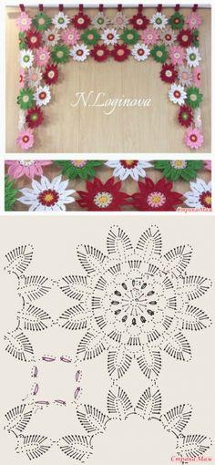 "Ламбрекен на кухонное окно от Наталья Deniz [ ""Crochet flower window ornament by tamara"" ] # # # # # # # # # Filet Crochet, Crochet Motifs, Crochet Flower Patterns, Crochet Diagram, Crochet Squares, Irish Crochet, Crochet Designs, Crochet Doilies, Crochet Flowers"