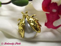 Gold ladybug pearl (faux) ring...available in silver...$1.00 at Seriously Pink