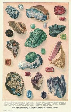 Gem: Precious Stones in their Natural and Finished States, lithograph, 1930s