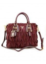 76437515ca76 Prada BN1336 Gauffre Ruched Nylon Handbag Burgundy Prada Tote, Prada  Handbags, Prada Saffiano,