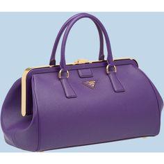 Prada Saffiano Calf Leather Spring Hinge Bag (18.535 HRK) found on Polyvore