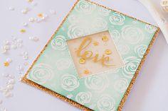 Love Flower Card with gold details #handmadecards #papercraft #cardmaking #winnieandwalter