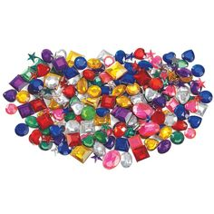 Flat backs make it easy to secure to a range of surfaces. Assorted sizes, shapes and shimmery colours.