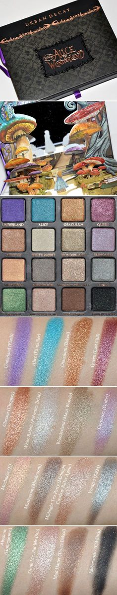 "DUPES / SWATCHES :: Urban Decay Alice in Wonderland Palette :: Every shade has a dupe color from UD except Muchness... | <a class=""pintag searchlink"" data-query=""%23temptalia"" data-type=""hashtag"" href=""/search/?q=%23temptalia&rs=hashtag"" rel=""nofollow"" title=""#temptalia search Pinterest"">#temptalia</a>"