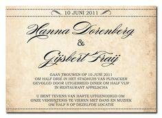 Ticket - Voorbeeld tekst trouwkaart