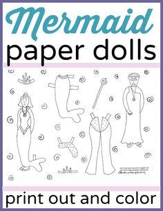 Mermaid paper dolls. Free, printable coloring page