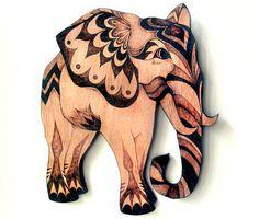 Arte de pared de elefante madera de pared que por GlenoutherCrafts
