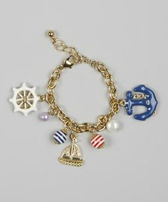 Take a look at this Gold & Blue Anchor Charm Bracelet by Accessories West Imports on #zulily today!