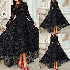 Delicate Lace Long Sleeves Asymmetry A-Line Hot Sale Evening Dress 11440828 - Vintage Evening Dresses - Dresswe. Evening Dress 2015, Long Sleeve Evening Dresses, Prom Dresses Long With Sleeves, Black Prom Dresses, Formal Evening Dresses, Sexy Dresses, Beautiful Dresses, Fashion Dresses, Prom Gowns