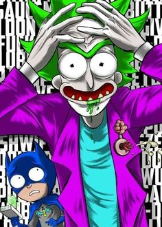 Rick and Morty x The Joker & Batman Cartoon Wallpaper, Rick Und Morty Tattoo, Dragonball Anime, Rick And Morty Crossover, Rick And Morty Drawing, Rick And Morty Stickers, Rick I Morty, Rick And Morty Poster, Dope Cartoons