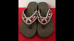 Embellished Cross gun flip flops