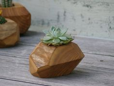 Wood Succulent Planter - Modern Plant Holder - Reclaimed Wood Planter - Garden Pot  make these for christmas gifts!