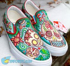 Our latest pair of custom designs Vans. Get your own pair here: http://www.radcakes.com/shop/category/art/ Tags: Skulls, Custom Vans, Custom Slip On Vans, Sneakers, Mexican Art, Candy Skulls.