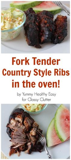 Fork Tender Country Style Ribs and Coleslaw Recipe - by Yummy Healthy Easy for Classy Clutter