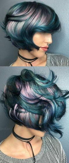 Protective style: colored weave and/or wig | #greenmonster | Pink teal blue hair