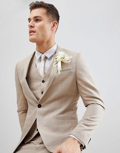 Wedding Suits - Shop Noak skinny wedding suit jacket in windowpane check at ASOS. Beige Suits Wedding, Wedding Men, Beige Suits For Men, Tan Tuxedo Wedding, Groom And Groomsmen Suits, Groom Attire, Cooler Look, Mens Fashion Suits, Perfect Wedding Dress