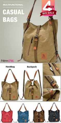 Women Canvas Casual Multifunctional Microfiber Leather Large Capacity Handbag Shoulder Bags Backpack shows femininity. Shop on NewChic and buy yourself the best women backpack.One of the most crucial things a tourist can discover would be the ideal b Backpack Bags, Tote Bag, Diy Handbag, Popular Bags, Denim Bag, Bag Sale, Purses And Handbags, Fashion Bags, Diy Fashion