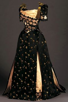 As impractical as such dress is in modern times, really.  Why on earth are we not even half as stylish as we used to be? [Late Victorian Reception Dress 1890]
