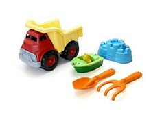 Green Toys Sand & Water Play Dump Truck with Boat & Sand Tools