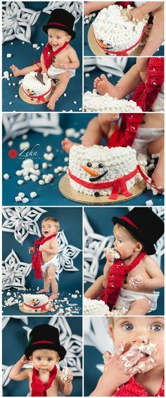 Snowman, Winter, Cake Smash Session, First Birthday, Photo session idea, red, marshmallows, blue, top hat ©Zehn Photography2015 www.zehnphotography.com