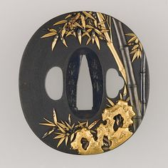 Sword Guard (Tsuba) Fittings maker: Inscribed by Ishiguro Masayoshi (Japanese, 1772–after 1851) Date: 19th century Culture: Japanese Medium: Copper-gold alloy (shakudō), gold, copper-silver alloy (shibuichi), copper