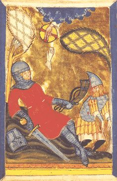 The Death of Roland. He slays a Saracene with his horn 'Olifant' and hands his glove to God the Father. Illuminated page from a chronicle (Stricker, Charlemagne). Swabia, early 14th CE