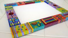 8 x10 Patchwork Bright Colors Mixed Media by VeeHandPainted