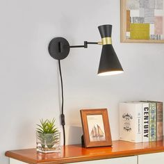 Light Society Beaker Plug-in Wall Sconce in Matte Black with Swivel Arm and Brass Details, Modern Mid-Century Retro Style Lighting White Light Bulbs, Light Bulb Types, Lighting Store, Cool Lighting, Ceiling Fan Price, Plug In Wall Sconce, Wall Lights, Ceiling Lights, Modern Wall Sconces