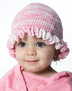 This adorable Baby Ruffle Hat pattern is perfect for newborn baby girls. Made with soft bubblegum pink yarn and embellished with a sweet ruffle, this hat is as much fun to make as it is to give.
