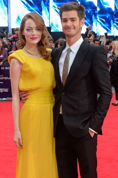 Emma Stone + Andrew Garfield - she looks all glamorous and he looks like he's gonna cry from pride