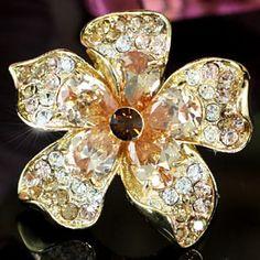 Gold Queen Flower Austrian Crystal Ring
