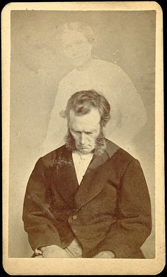 William Mumler, Bronson Murray in a supposed trance with the 'spirit' of Ella Bonner, 1872.  Double exposure photograph.