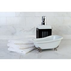 Customize your bathroom space with this 2-piece ceramic white and silver claw foot bathtub accessory set. A nearly perfect replica of a claw foot tub, this whimsical set is fun and functional. Its small size is ideal for storing smaller items.