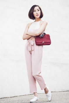 Blush Crop Top & High Waisted Trousers